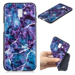 Marble 3D Embossed Relief Black TPU Cell Phone Back Cover for Samsung Galaxy J6 Plus / J6 Prime