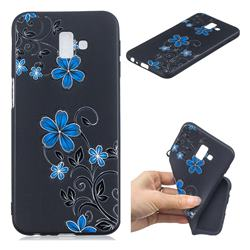 Little Blue Flowers 3D Embossed Relief Black TPU Cell Phone Back Cover for Samsung Galaxy J6 Plus / J6 Prime