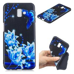 Blue Butterfly 3D Embossed Relief Black TPU Cell Phone Back Cover for Samsung Galaxy J6 Plus / J6 Prime
