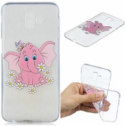 Tiny Pink Elephant Clear Varnish Soft Phone Back Cover for Samsung Galaxy J6 Plus / J6 Prime