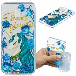 Blue Flower Unicorn Clear Varnish Soft Phone Back Cover for Samsung Galaxy J6 Plus / J6 Prime