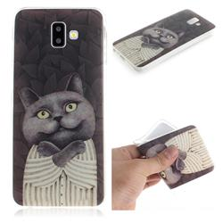 Cat Embrace IMD Soft TPU Cell Phone Back Cover for Samsung Galaxy J6 Plus / J6 Prime