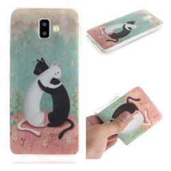 Black and White Cat IMD Soft TPU Cell Phone Back Cover for Samsung Galaxy J6 Plus / J6 Prime
