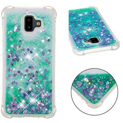 Dynamic Liquid Glitter Sand Quicksand TPU Case for Samsung Galaxy J6 Plus / J6 Prime - Green Love Heart