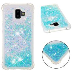 Dynamic Liquid Glitter Sand Quicksand TPU Case for Samsung Galaxy J6 Plus / J6 Prime - Silver Blue Star