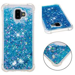 Dynamic Liquid Glitter Sand Quicksand TPU Case for Samsung Galaxy J6 Plus / J6 Prime - Blue Love Heart
