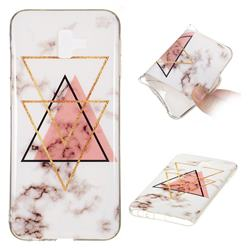 Inverted Triangle Powder Soft TPU Marble Pattern Phone Case for Samsung Galaxy J6 Plus / J6 Prime