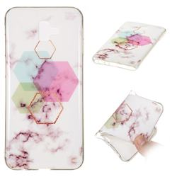 Hexagonal Soft TPU Marble Pattern Phone Case for Samsung Galaxy J6 Plus / J6 Prime