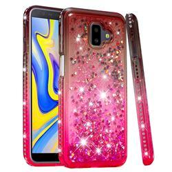 Diamond Frame Liquid Glitter Quicksand Sequins Phone Case for Samsung Galaxy J6 Plus / J6 Prime - Gray Pink