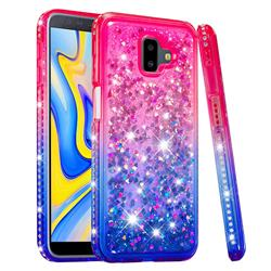 Diamond Frame Liquid Glitter Quicksand Sequins Phone Case for Samsung Galaxy J6 Plus / J6 Prime - Pink Blue