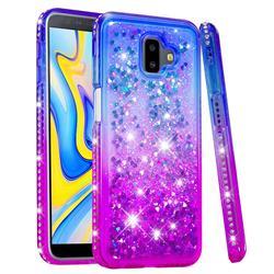 Diamond Frame Liquid Glitter Quicksand Sequins Phone Case for Samsung Galaxy J6 Plus / J6 Prime - Blue Purple
