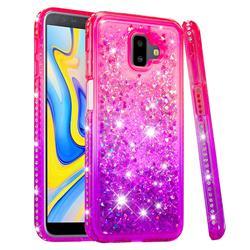 Diamond Frame Liquid Glitter Quicksand Sequins Phone Case for Samsung Galaxy J6 Plus / J6 Prime - Pink Purple