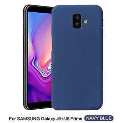 Howmak Slim Liquid Silicone Rubber Shockproof Phone Case Cover for Samsung Galaxy J6 Plus / J6 Prime - Midnight Blue