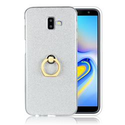 Luxury Soft TPU Glitter Back Ring Cover with 360 Rotate Finger Holder Buckle for Samsung Galaxy J6 Plus / J6 Prime - White