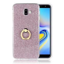 Luxury Soft TPU Glitter Back Ring Cover with 360 Rotate Finger Holder Buckle for Samsung Galaxy J6 Plus / J6 Prime - Pink