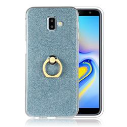 Luxury Soft TPU Glitter Back Ring Cover with 360 Rotate Finger Holder Buckle for Samsung Galaxy J6 Plus / J6 Prime - Blue