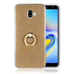 Luxury Soft TPU Glitter Back Ring Cover with 360 Rotate Finger Holder Buckle for Samsung Galaxy J6 Plus / J6 Prime - Golden