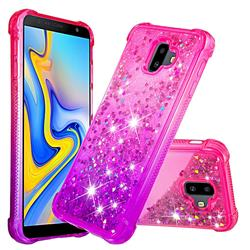 Rainbow Gradient Liquid Glitter Quicksand Sequins Phone Case for Samsung Galaxy J6 Plus / J6 Prime - Pink Purple