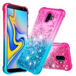 Rainbow Gradient Liquid Glitter Quicksand Sequins Phone Case for Samsung Galaxy J6 Plus / J6 Prime - Pink Blue