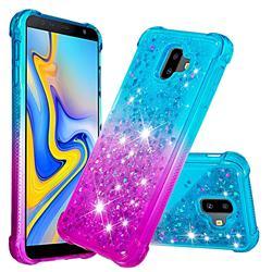 Rainbow Gradient Liquid Glitter Quicksand Sequins Phone Case for Samsung Galaxy J6 Plus / J6 Prime - Blue Purple