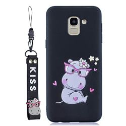Black Flower Hippo Soft Kiss Candy Hand Strap Silicone Case for Samsung Galaxy J6 Plus / J6 Prime
