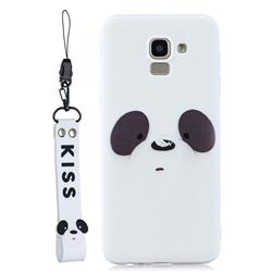 White Feather Panda Soft Kiss Candy Hand Strap Silicone Case for Samsung Galaxy J6 Plus / J6 Prime