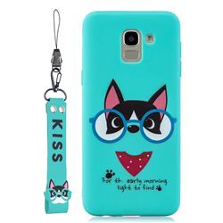 Green Glasses Dog Soft Kiss Candy Hand Strap Silicone Case for Samsung Galaxy J6 Plus / J6 Prime