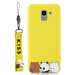 Yellow Bear Family Soft Kiss Candy Hand Strap Silicone Case for Samsung Galaxy J6 Plus / J6 Prime