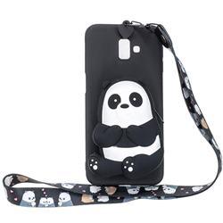Cute Panda Neck Lanyard Zipper Wallet Silicone Case for Samsung Galaxy J6 Plus / J6 Prime