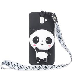 White Panda Neck Lanyard Zipper Wallet Silicone Case for Samsung Galaxy J6 Plus / J6 Prime