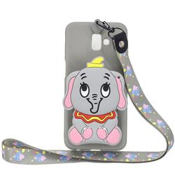 Gray Elephant Neck Lanyard Zipper Wallet Silicone Case for Samsung Galaxy J6 Plus / J6 Prime
