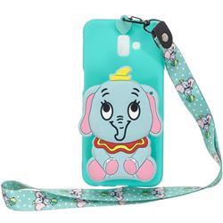 Blue Elephant Neck Lanyard Zipper Wallet Silicone Case for Samsung Galaxy J6 Plus / J6 Prime