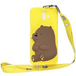 Yellow Bear Neck Lanyard Zipper Wallet Silicone Case for Samsung Galaxy J6 Plus / J6 Prime