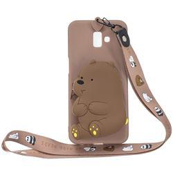 Brown Bear Neck Lanyard Zipper Wallet Silicone Case for Samsung Galaxy J6 Plus / J6 Prime
