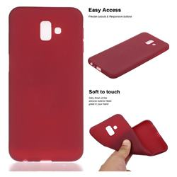Soft Matte Silicone Phone Cover for Samsung Galaxy J6 Plus / J6 Prime - Wine Red