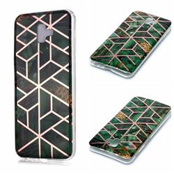 Green Rhombus Galvanized Rose Gold Marble Phone Back Cover for Samsung Galaxy J6 Plus / J6 Prime
