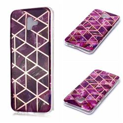 Purple Rhombus Galvanized Rose Gold Marble Phone Back Cover for Samsung Galaxy J6 Plus / J6 Prime