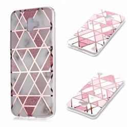 Pink Rhombus Galvanized Rose Gold Marble Phone Back Cover for Samsung Galaxy J6 Plus / J6 Prime