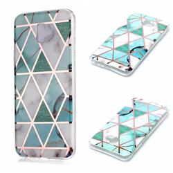 Green White Galvanized Rose Gold Marble Phone Back Cover for Samsung Galaxy J6 Plus / J6 Prime