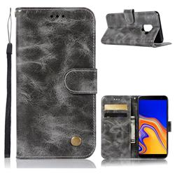 Luxury Retro Leather Wallet Case for Samsung Galaxy J6 Plus / J6 Prime - Gray