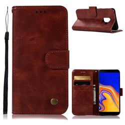Luxury Retro Leather Wallet Case for Samsung Galaxy J6 Plus / J6 Prime - Wine Red