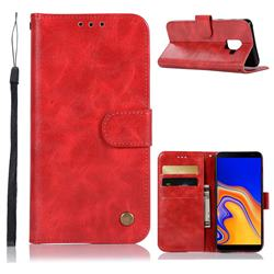 Luxury Retro Leather Wallet Case for Samsung Galaxy J6 Plus / J6 Prime - Red