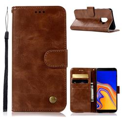 Luxury Retro Leather Wallet Case for Samsung Galaxy J6 Plus / J6 Prime - Brown