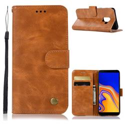 Luxury Retro Leather Wallet Case for Samsung Galaxy J6 Plus / J6 Prime - Golden