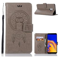Intricate Embossing Owl Campanula Leather Wallet Case for Samsung Galaxy J6 Plus / J6 Prime - Grey