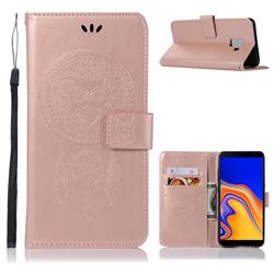 Intricate Embossing Owl Campanula Leather Wallet Case for Samsung Galaxy J6 Plus / J6 Prime - Rose Gold