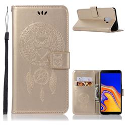 Intricate Embossing Owl Campanula Leather Wallet Case for Samsung Galaxy J6 Plus / J6 Prime - Champagne