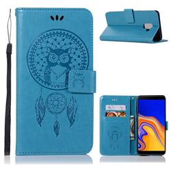 Intricate Embossing Owl Campanula Leather Wallet Case for Samsung Galaxy J6 Plus / J6 Prime - Blue
