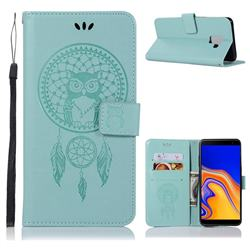 Intricate Embossing Owl Campanula Leather Wallet Case for Samsung Galaxy J6 Plus / J6 Prime - Green