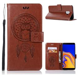 Intricate Embossing Owl Campanula Leather Wallet Case for Samsung Galaxy J6 Plus / J6 Prime - Brown